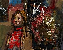 § DANNY FERGUSSON (SCOTTISH 1925–1993) GLASGOW URCHIN AND GRAFFITI 35cm x 42cm (13.75in x 16.5in)
