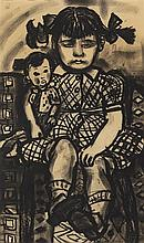 § BET LOW (SCOTTISH 1924-2007) DAUGHTER AND DOLL 43.5cm x 26cm (17in x 10in)