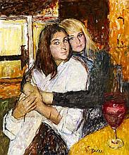 § GEOFFREY SQUIRE (SCOTTISH 1923-2012) TWO YOUNG WOMEN 60cm x 50cm (23.5in x 19.75in)