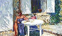 § GEOFFREY SQUIRE (SCOTTISH 1923-2012) SOAKING UP THE SUN 30cm x 53cm (12in x 21in)
