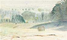 § GEOFFREY SQUIRE (SCOTTISH 1923-2012) MISTY MORNING 26cm x 63cm (10in x 25in) and another by the same hand (2)