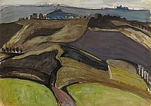 § IAN FLEMING R.S.A., R.S.W. (SCOTTISH 1906-1994) LANDSCAPE WITH HILLS AND HOUSES 49cm x 69cm (19in x 27in)