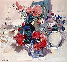 § JAMES FULLARTON (SCOTTISH B.1946) STILL LIFE WITH PINKS 61cm x 66cm (24in x 26in)