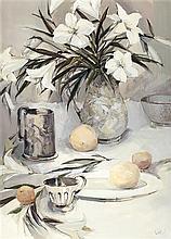 § ETHEL WALKER (SCOTTISH B.1941) LILIES, 1991 76cm x 53.5cm (30in x 21in)