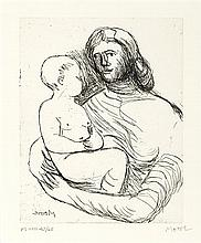 § HENRY MOORE O.M., C.H. (BRITISH 1898-1986) MOTHER AND CHILD XXII, 1983 22cm x 17.5cm (8.75in x 7in) (plate size)