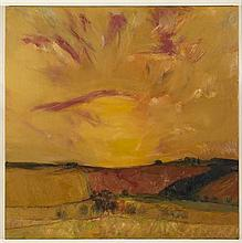 § JOHN HOUSTON O.B.E., R.S.A., R.S.W., R.G.I. (SCOTTISH 1930-2008) SUNSET OVER FIFE C.1968-72 92cm x 92cm (36in x 36in)