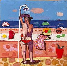 § LEON MORROCCO R.S.A. (SCOTTISH B.1942) BEACH SHOWER 20cm x 20cm (8in x 8in)