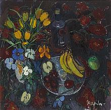 § DONALD MANSON (SCOTTISH B. 1948) STILL LIFE WITH PANSIES AND TULIPS 59cm x 59cm (23in x 23in)