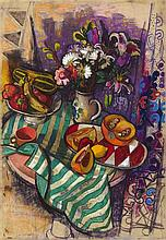 § LEON MORROCCO R.S.A. (SCOTTISH B.1942) FRUIT AND FLOWERS ON A STRIPED CLOTH 109cm x 76cm (43in x 30in)