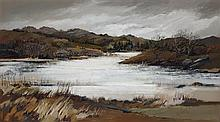 § ETHEL WALKER (SCOTTISH B.1941) LOCH AT FORD 30cm x 54cm (12in x 21.25in)