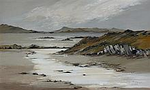 § ETHEL WALKER (SCOTTISH B.1941) WEST COAST LANDSCAPE 30cm x 50cm (12in x 19.5in)