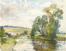 § WILFRID DE GLEHN R.A. (BRITISH 1870-1951) SUMMER RIVER LANDSCAPE 39.5cm x 51cm (15.5in x 20in)
