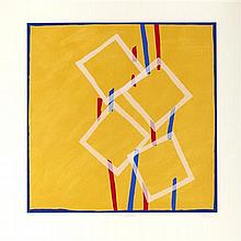 § SANDRA BLOW R.A. (BRITISH 1925-2006) FOUR SQUARE 90cm x 90cm (35.5in x 35.5in)