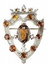 A gem set Victorian luckenbooth brooch 6.5cm high