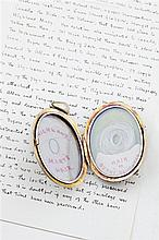 Robert Burns - a Victorian gold and pearl set locket locket 6cm long (including suspension loop)