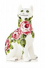WEMYSS WARE LARGE 'CABBAGE ROSES' CAT FIGURE, POST 1930 31cm high
