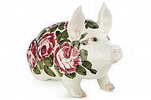 WEMYSS WARE LARGE PIG FIGURE, POST 1930 44cm long