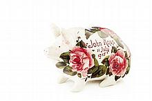 WEMYSS WARE RARE 'CABBAGE ROSES' PIG MONEYBOX, DATED 1915 16.5cm long