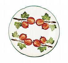 WEMYSS WARE 'GOOSEBERRIES' GORDON DESSERT PLATE, CIRCA 1900 20.5cm diameter