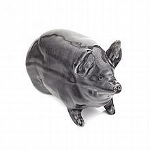 WEMYSS WARE RARE SMALL PIG FIGURE, CIRCA 1900 16cm long