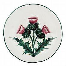 WEMYSS WARE 'THISTLES' GORDON DESSERT PLATE, CIRCA 1900 21cm diameter