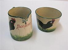 WEMYSS WARE 'BROWN COCKEREL AND HENS' BONJOUR MILK JUG AND SUGAR BOWL, EARLY 20TH CENTURY jug, 7cm high, bowl, 7.5cm diameter