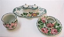 WEMYSS WARE 'DOG ROSES' DOUBLE VICTORIA INKSTAND, CIRCA 1900