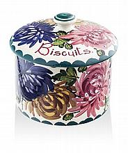 WEMYSS WARE 'CHRYSANTHEMUMS' BISCUIT BARREL & COVER, EARLY 20TH CENTURY 12cm high