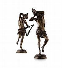 ALBERT-ERNEST CARRIER-BELLEUSE (1824-1887) DANSEURS NAPOLITAIN 26cm high and 28cm high