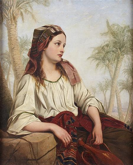 HENRY NELSON O'NEIL (BRITISH 1817-1880) REBECCA AT THE WELL 52cm x 43cm (20.5in x 17in)