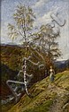 JOHN MACWHIRTER R.A., H.R.S.A., R.I., R.E. (SCOTTISH 1839-1911) A PATH IN THE TROSSACHS 76cm x 48cm (30in x 19in)