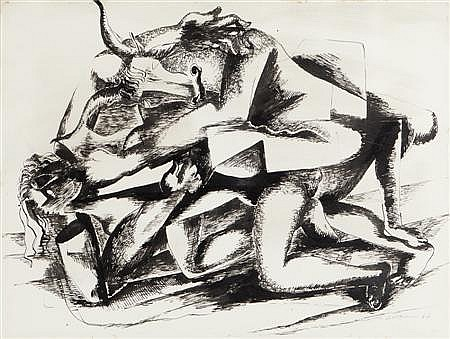 OSSIP ZADKINE (RUSSIAN/FRENCH 1890-1967) BULL ATTACKING A WOMAN 49cm x 64cm (19.25in x 25in)