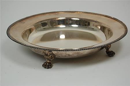 A set of four silver plated communion plates 41cm diameter