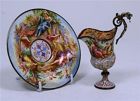 A miniature Viennese enamel ewer and stand ewer 11cm high, stand 12cm diameter