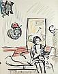 GEORGE LESLIE HUNTER (SCOTTISH 1879-1931) GIRL ON A SOFA 56cm x 44cm (22in x 17.25in)