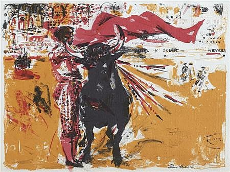 § JOHN HOUSTON R.S.A., O.B.E. (SCOTTISH 1930-2008) BULLFIGHT, 1958 25cm x 35cm (10in x 13in)