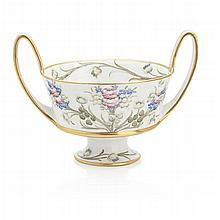 WILLIAM MOORCROFT MACINTYRE 'FLORIAN WARE' TWIN HANDLED FOOTED BOWL, CIRCA 1900 23.5cm across