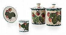 WEMYSS WARE TWO 'STRAWBERRIES' PRESERVE JARS & COVERS, EARLY 20TH CENTURY