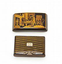 TWO MAUCHLINE WARE PENWORK SNUFF BOXES 19TH CENTURY