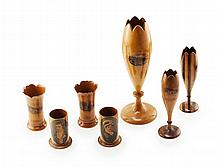 A GROUP OF SEVEN MAUCHLINE WARE SPILL VASES 19TH CENTURY