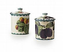 WEMYSS WARE A 'STRAWBERRIES' AND 'PURPLE PLUMS' PRESERVE JARS & COVERS, EARLY 20TH CENTURY