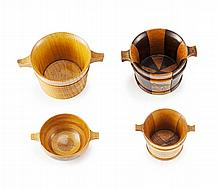 A GROUP OF FOUR MAUCHLINE WARE LUGGIES 19TH CENTURY