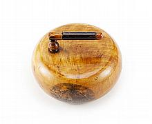 A MAUCHLINE WARE CURLING STONE PAPERWEIGHT 19TH CENTURY 8.3cm diameter