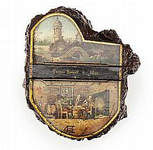 A LARGE BURR-WOOD AND PAINTED SNUFF MULL 19TH CENTURY 21cm long, 13cm high, 18cm wide,