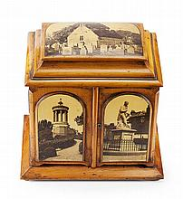 A LARGE MAUCHLINE WARE COLLECTOR'S TABLE CABINET 32cm wide, 31cm high, 23cm deep