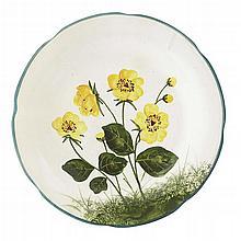 WEMYSS WARE A RARE 'MARSH MARIGOLDS' GORDON DESSERT PLATE, CIRCA 1900 21cm diameter