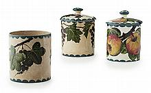 WEMYSS WARE A 'BLACKCURRANTS' PRESERVE JAR & COVER, EARLY 20TH CENTURY