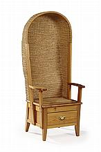 A PITCH PINE FRAMED ORKNEY CHAIR, BY ROBERT H. TOWERS, KIRKWALL LATE 20TH CENTURY 63cm wide, 148cm high, approx. 40cm deep