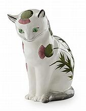 * PLICHTA, LONDON A LARGE 'THISTLES' CAT FIGURE, POST 1930 26cm high