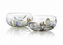 HANNAH MOORE WALTON (1863-1940) TWO PAINTED GLASS BOWLS, CIRCA 1910 12cm diameter